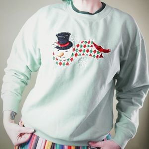 "Sweaters - Mint Green Snowman ""Ugly Christmas"" Sweater"
